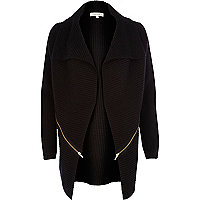 Black zip trim waterfall cardigan