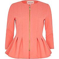 Coral peplum jacket