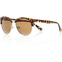 Brown tortoise half frame retro sunglasses