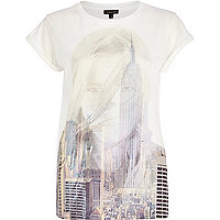 White cityscape girl print fitted t-shirt