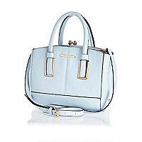 Blue mini structured tote bag