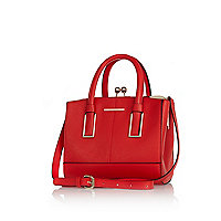 Red mini structured tote bag