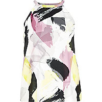 White paint stroke print racer front top