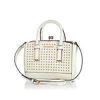 Cream studded frame bag
