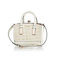 Cream studded frame bag