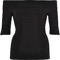 Black bandage bardot top