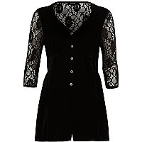 Black lace insert velvet playsuit