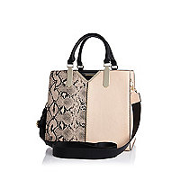 Cream split front snake print tote bag