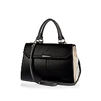 Black colour block double-sided tote bag