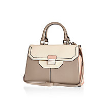 Cream colour block double-sided tote bag