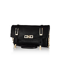 Black textured cross body bag