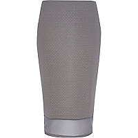 Grey mesh hem textured pencil skirt