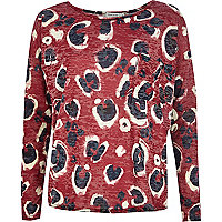 Red burnout animal print boxy top