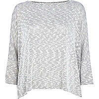 Light grey lurex knit boxy top