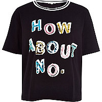 Black how about no print boxy tee