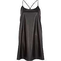 Black leather-look stepped hem cami dress