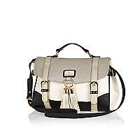 Grey colour block tassel satchel bag