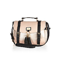 Pink colour block tassel satchel bag