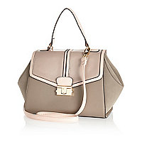 Beige paneled tote bag