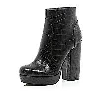 Black mock croc platform ankle boots
