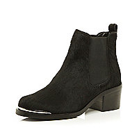 Black pony leather Chelsea boots