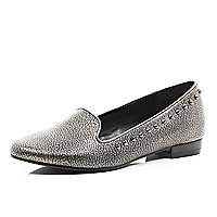 Silver print leather studded slipper shoes