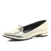 Gold tone metallic leather slipper shoes