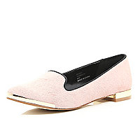 Pink pony leather print slipper shoes