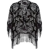 Black velvet tassel kimono