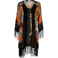 Black animal print fringed kimono