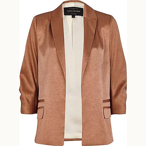 Rose gold textured satin blazer