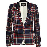 Navy tartan fitted blazer