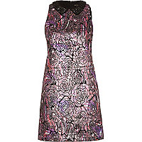 Dark print metallic jacquard shift dress