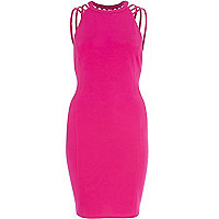 Bright pink strappy backless bodycon dress