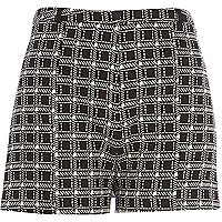 Black check smart shorts