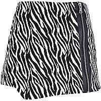 Black zebra print smart skort