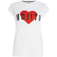 White mojito heart print fitted t-shirt