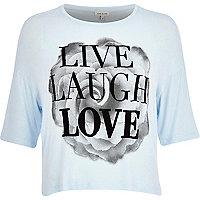 Blue live life love print boxy tee