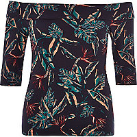 Navy tropical print bardot top