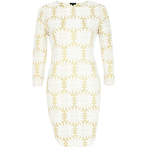 Gold Floral Bodycon Dress River Island