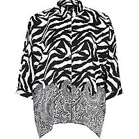 Black zebra print loose fit shirt
