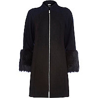 Black Design Forum faux fur cuff coat