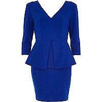 Blue V neck 3/4 sleeve peplum pencil dress