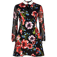 Black floral print flippy dress