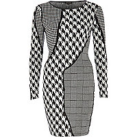 Black and white mixed print bodycon dress