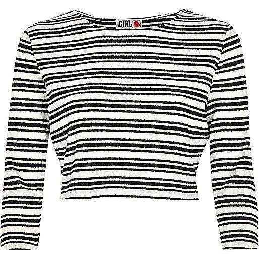Black Chelsea Girl stripe crop top