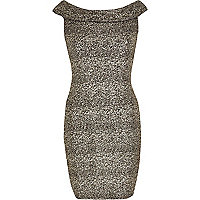 Gold Chelsea Girl shimmer bardot dress