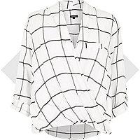 White check twist wrap blouse