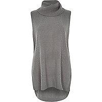 Grey roll neck knitted tunic