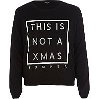 Black knitted Christmas jumper
